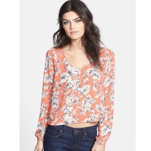 Astr Peach Colored Floral Cropped Blouse